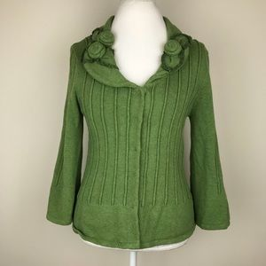 CAbi Green Embellished Floral Cardigan Sweater